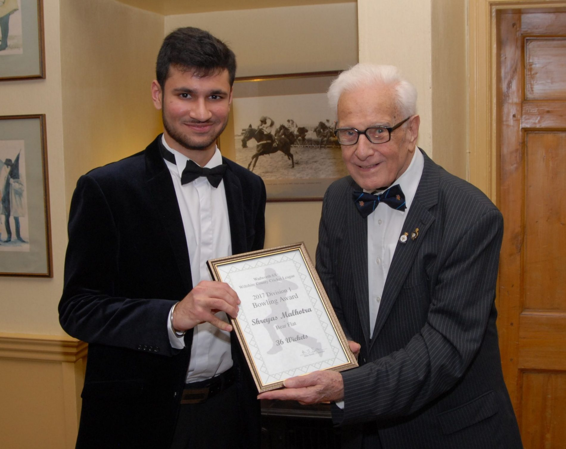 Shreyas receives Wiltshire League Division 1 Bowler of The Year certificate